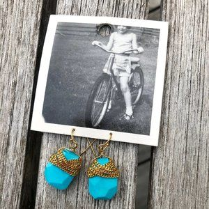 Anthropologie Turquoise Gold Chain Earrings